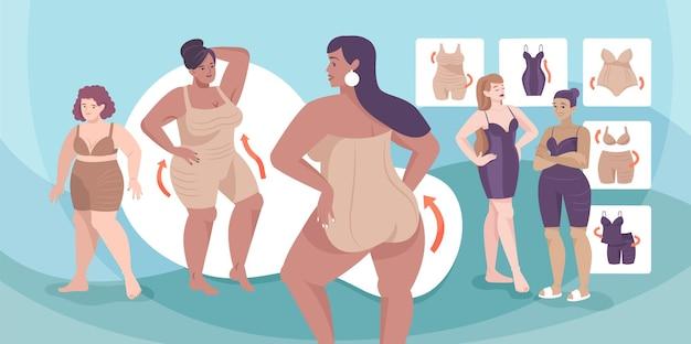 Korrektive unterwäsche, flache zusammensetzung mit damenunterwäsche in übergröße und korrigierender, abnehmender shapewear shape