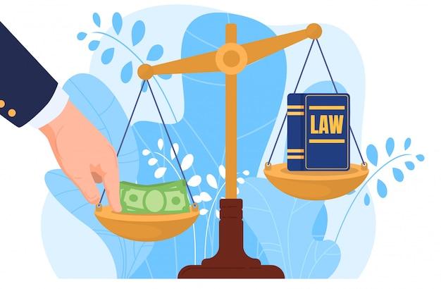 Korruption, hand legte geld auf skala, bestechung, isoliert auf weißer, flacher illustration. korrupte praktiken im rechtssystem, rechtsprechung.