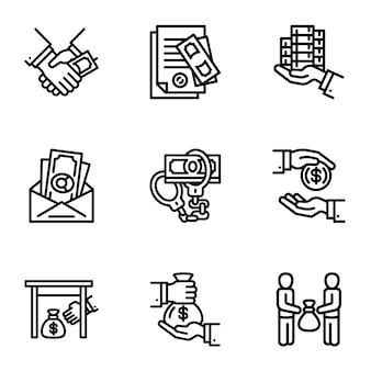 Korruptions-icon-set. gliederungssatz von 9 korruptionsikonen