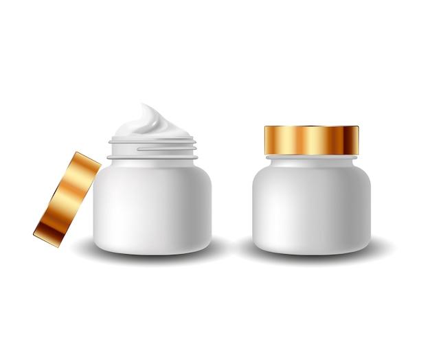 Kosmetik der goldpaketsammlung für sahnebeschaffenheit