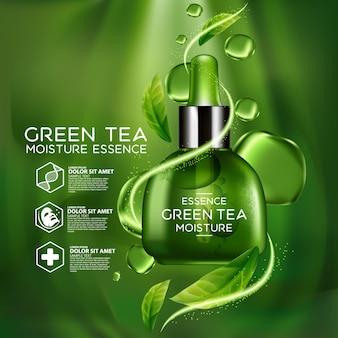 Kosmetik des serumkonzepts des grünen tees für haut