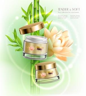 Kosmetik, die realistische zusammensetzung des hauterweichungscremetopf-behälters mit lotosblumen-bambusstielen annoncieren