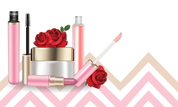 Kosmetik eingestellt. lipgloss und mascara. produktpaket mock up dekoriert gestreiften hintergrund