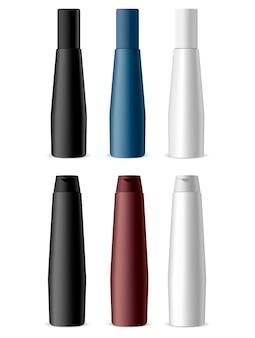 Kosmetik-flaschen-produkt-set. shampoo pack.