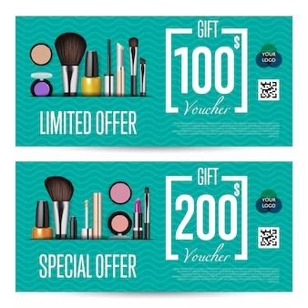 Kosmetik-geschenkgutscheine mit prepaid-summenvorlage