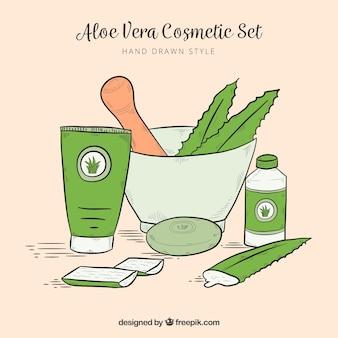 Kosmetik hintergrund hand gezeichnet mit aloe vera