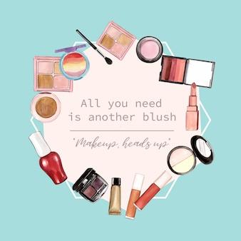 Kosmetik kranz design mit textmarker, pinsel auf, lippenstift