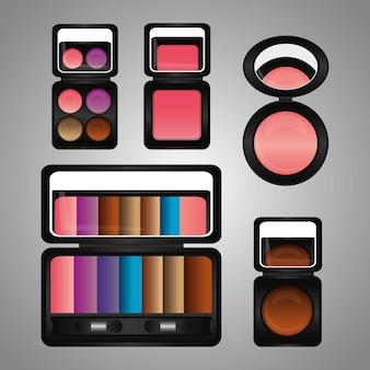 Kosmetik make-up kit lidschatten rouge spiegel