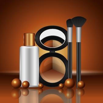 Kosmetik make-up lose lidschatten pinsel und lotion flasche