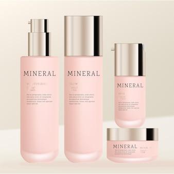 Kosmetik- oder hautpflege-verpackungspaket aus milchglas mit pumpflasche, schraubverschluss, flaschenglas und serumpumpenflasche