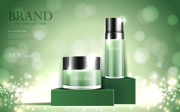 Kosmetik- oder hautpflegegoldproduktanzeigen grüne flasche und glitzernder lichteffektvektor des hintergrundes