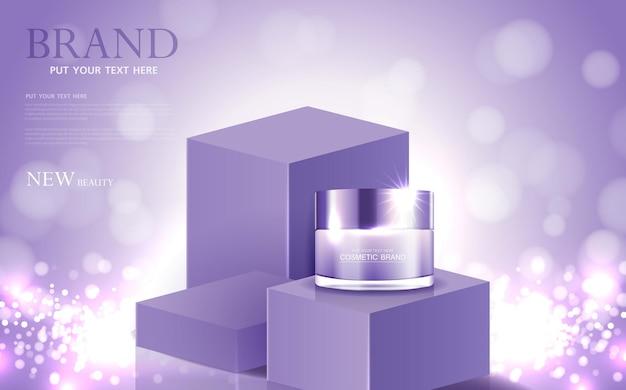 Kosmetik- oder hautpflegegoldproduktanzeigen lila flasche und hintergrund glitzernder lichteffektvektor