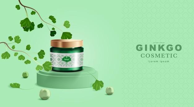 Kosmetik- oder hautpflegeprodukt. flaschenmodell und ginkgoblätter Premium Vektoren