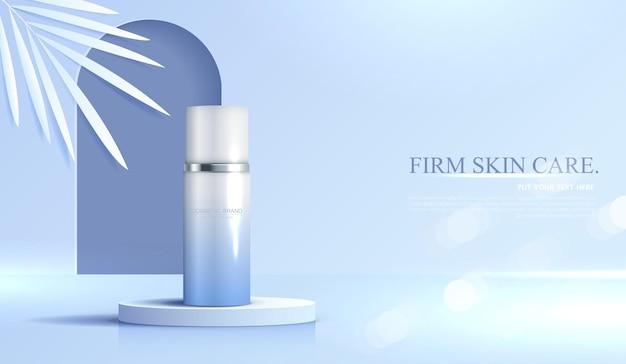 Kosmetik- oder hautpflegeproduktanzeigen mit flaschenbanneranzeige für schönheitsprodukte blau und blatt
