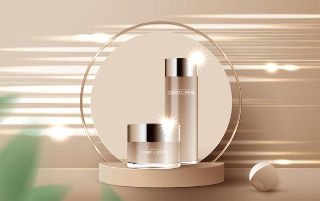 Kosmetik- oder hautpflegeproduktanzeigen mit flaschenbanneranzeige für schönheitsprodukte braun und blatt