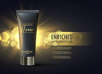 Kosmetik-Produkt Verpackung Design-Konzept für Premium-Marke in dunklen Gold Bokeh Hintergrund
