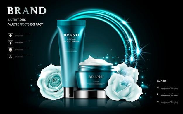 Kosmetik-set-anzeigen, weiße rose mit realistischem behälter isoliert