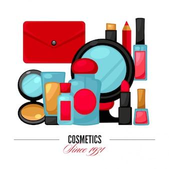 Kosmetik und mode bilden gegenstände