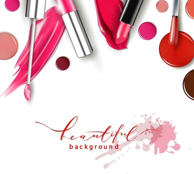 Kosmetik- und modehintergrund mit make-up-künstlerobjekten: lippenstift, ip-glanz, nagellack. mit platz für ihren text .template vector.