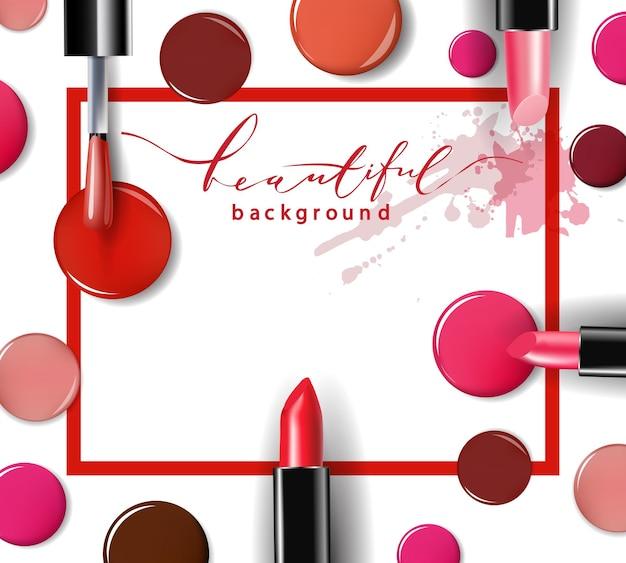 Kosmetik- und modehintergrund mit make-up-künstlerobjekten template vector