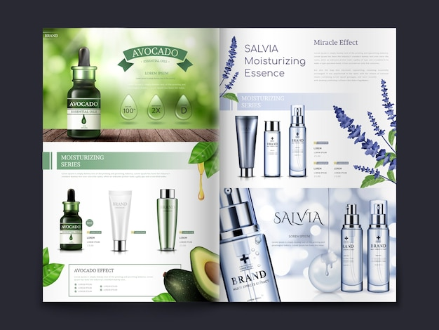 Kosmetikbroschüre zum thema avocado und salvia, kann auch in katalogen oder magazinen verwendet werden