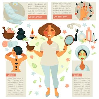 Kosmetiker in der mitte des bildes mit spiegel und schüssel