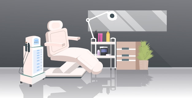 Kosmetikerschrank mit laser-epiliergerät und sessel