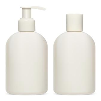 Kosmetikflaschenpaket. creme, lotion, shampoo produktpackung leer. kunststoffschablone des behälters für duschgel oder seife. pumpspenderglas für feuchtigkeitscreme. realistisches objekt