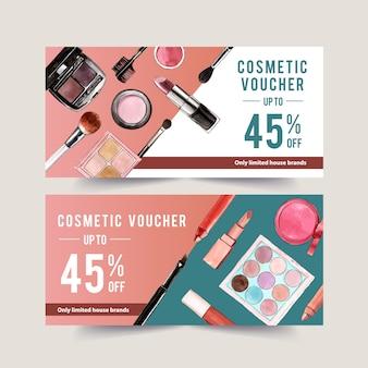 Kosmetikgutschein mit augenbrauen-palette und lippenstift