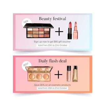 Kosmetikgutschein mit lidschatten, lippenstift, concealer