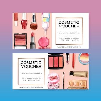 Kosmetikgutschein mit lippenstift, pinsel und lidschatten
