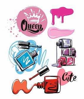 Kosmetiklack in verschiedenen farben skizzenstil
