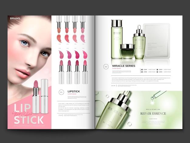 Kosmetikmagazinvorlage, lippenstift und hautpflegeprodukte mit modellporträt in 3d-illustration, magazin oder katalogbroschüre