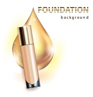 Kosmetikprodukt foundation concealer creme schöne flasche mit einem tropfen golden template vector