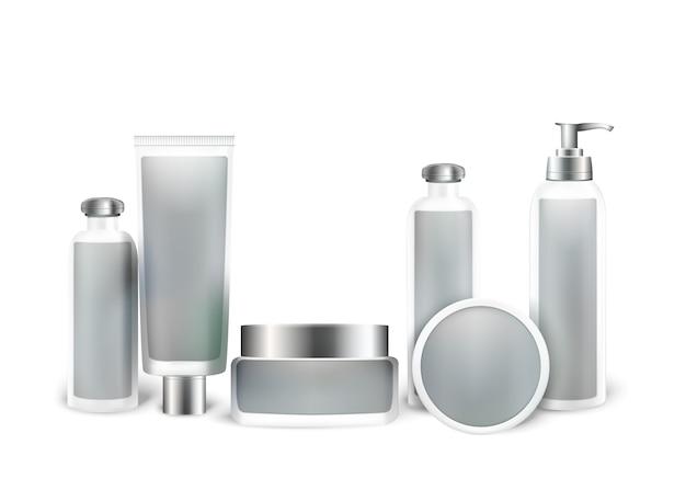 Kosmetikprodukt mock up set. flaschen