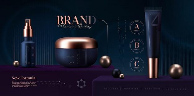 Kosmetikprodukte eingestellt. premium-cremeglas für hautpflegeprodukte. luxus-gesichtscreme. elegante kosmetik