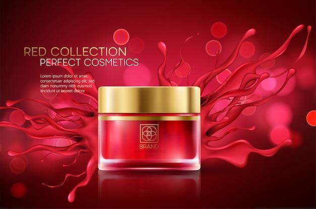Kosmetikprodukte mit luxuskollektionszusammensetzung auf rotem unscharfem bokehhintergrund.