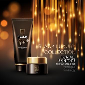 Kosmetikprodukte mit luxuskollektionszusammensetzung auf unscharfem bokehhintergrund.
