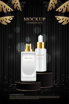 Kosmetikproduktstand auf schwarzem hölzernem hintergrund
