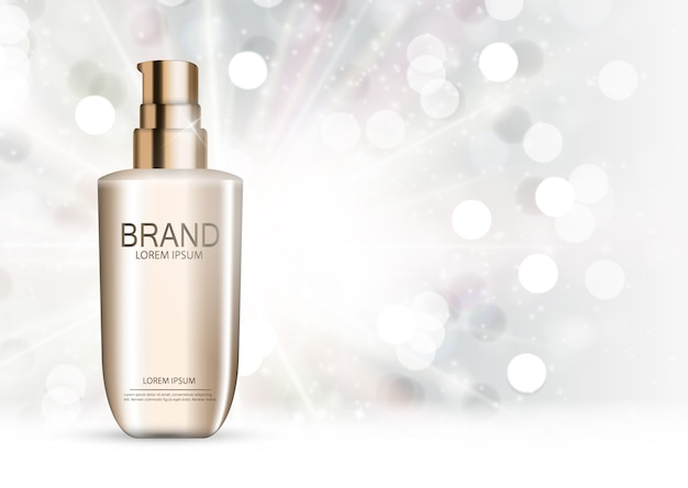Kosmetikproduktvorlage für anzeigen oder zeitschriftenhintergrund. realistische illustration