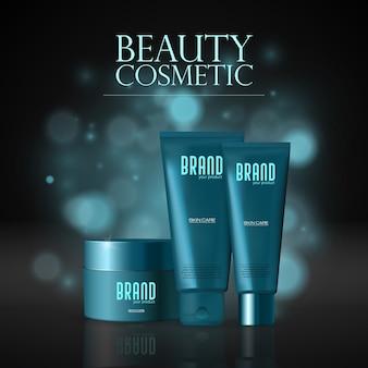 Kosmetikset, flaschen mit spray, spender und tropfer, cremetopf, tube, plastikbehälter. realistisches 3d-modell des kosmetikpakets.