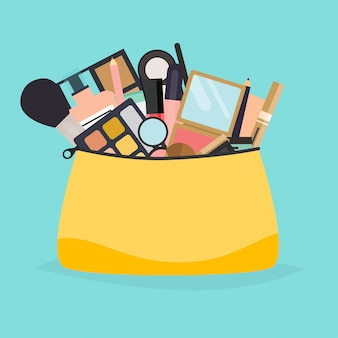 Kosmetiktasche mit make-up zeug. schönheitsstil lokalisiert auf weißem hintergrund.