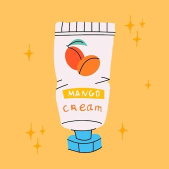 Kosmetiktube mit creme. handgezeichnete abbildung