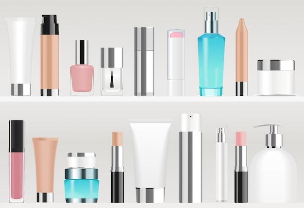 Kosmetiktuben in regalen. verschiedene farben