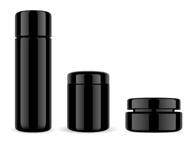 Kosmetikverpackung aus schwarzem glas. flasche und glas.