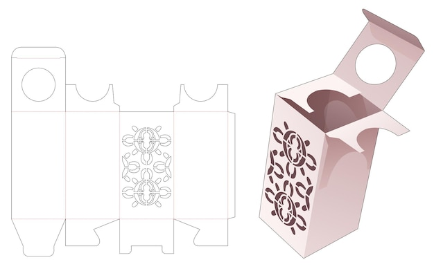 Kosmetikverpackung mit schablonen-mandala-stanzschablone