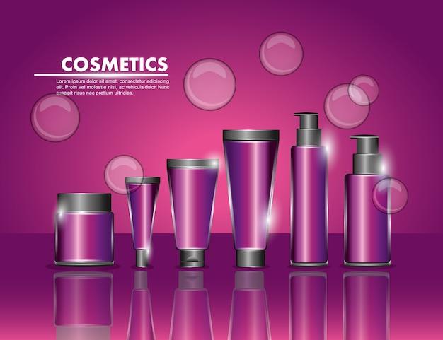 Kosmetikverpackungen schönheit flaschenprodukte eingestellt