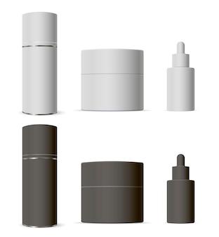 Kosmetikverpackungsset tropfenzähler, glas, spraydose. 3d