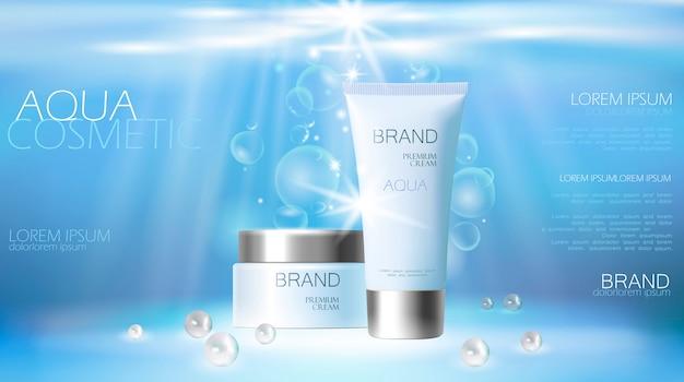 Kosmetische anzeige der aqua-hautpflegecreme, die plakatschablone fördert. unterwasser