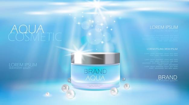 Kosmetische anzeige der aqua-hautpflegecreme, die plakatschablone fördert.